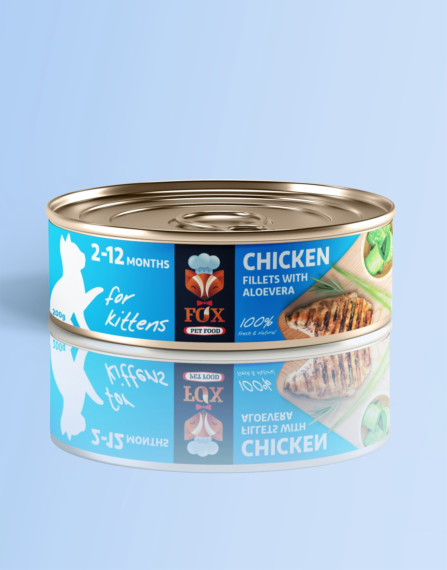 chicken fillets with aloe vera-tin-200g-for kittens-front