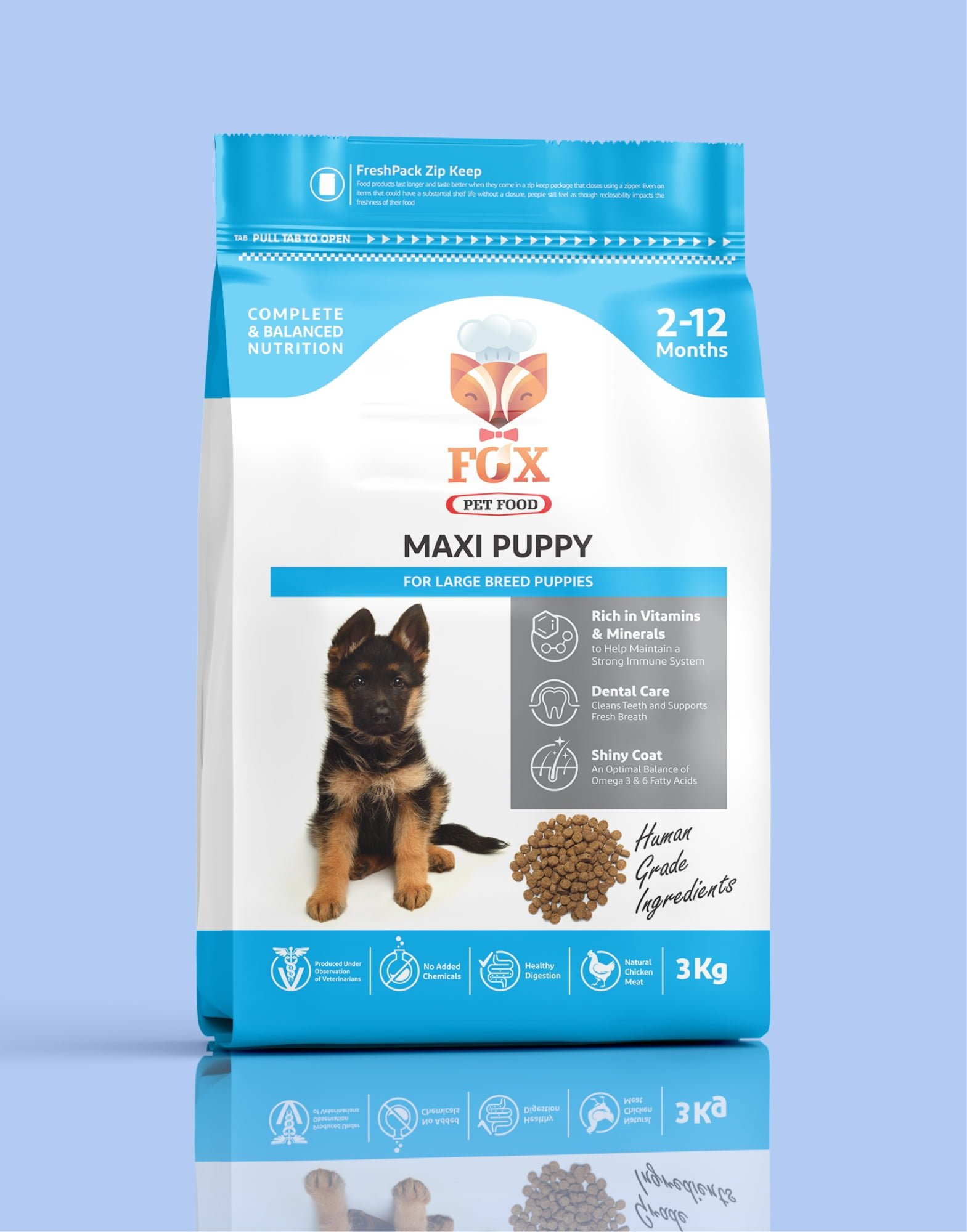 maxi puppy-for large breed puppies-3kg-front