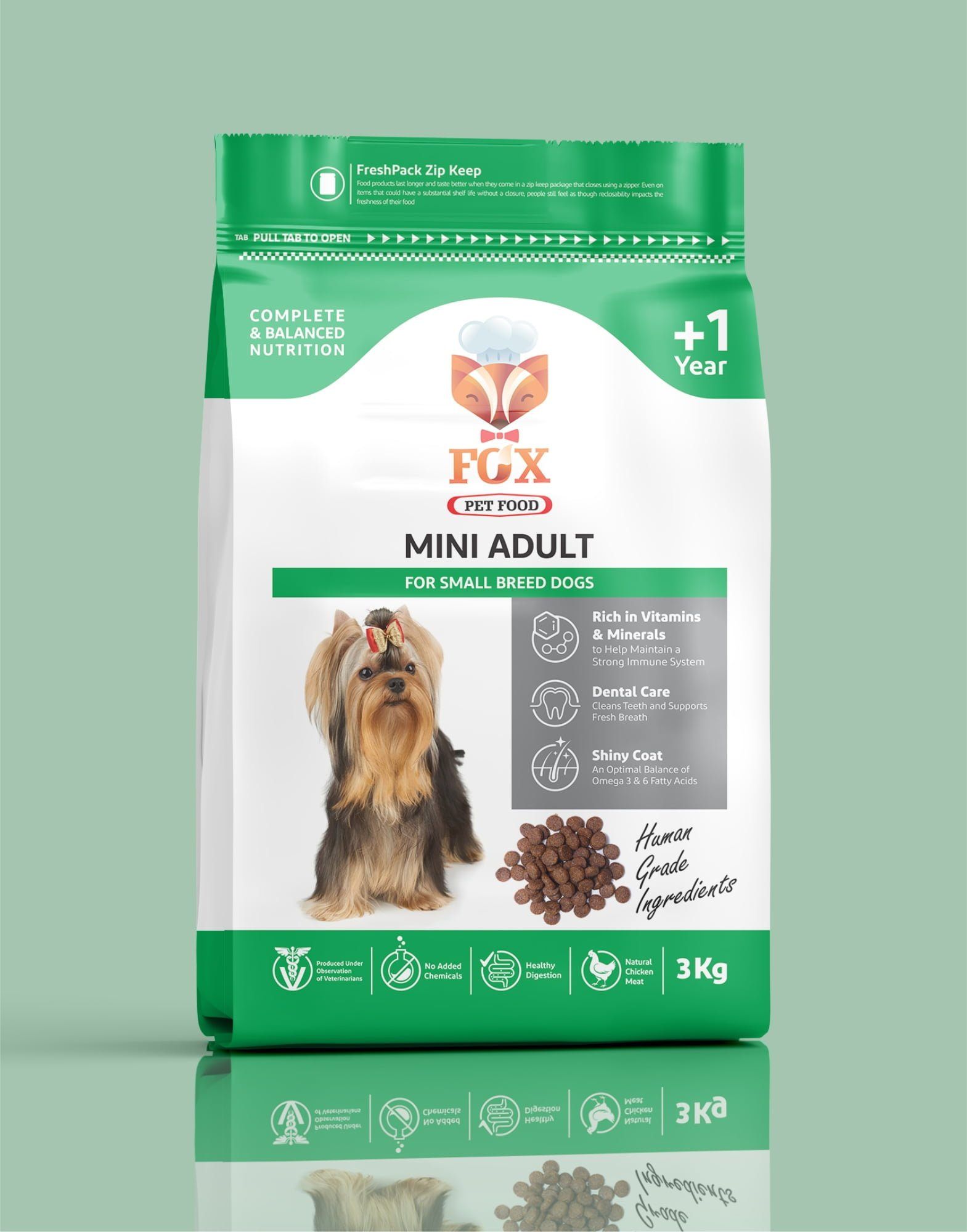 mini adult-for small breed dogs-3kg-front